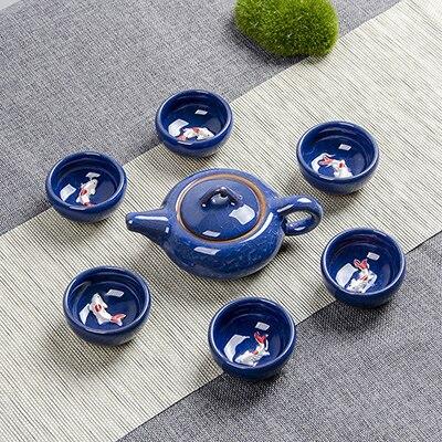 Crack glaze 3D fish Kung Fu Tea Set,multiple colour Ceramic Tea Sets,TeaCup,ChineseTravel Teapot, Drinkware Coffee&Tea Sets