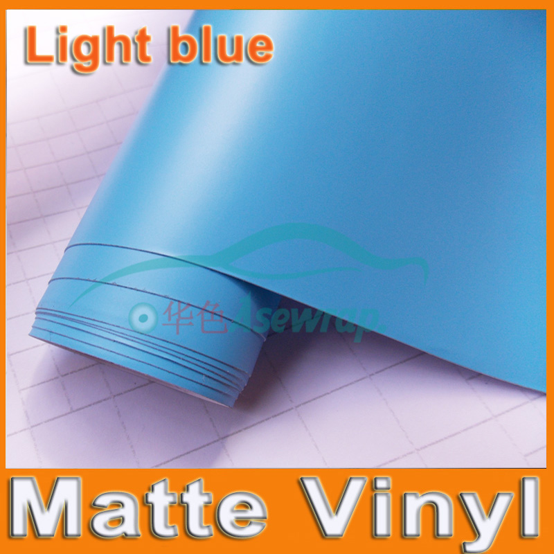 Free shipping high quality light blue Matte Vinyl Wrap with Air release Matt Black Vehicle decorationWrap Film car Sticker