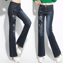 Butterfly Embroidery Flare Jeans