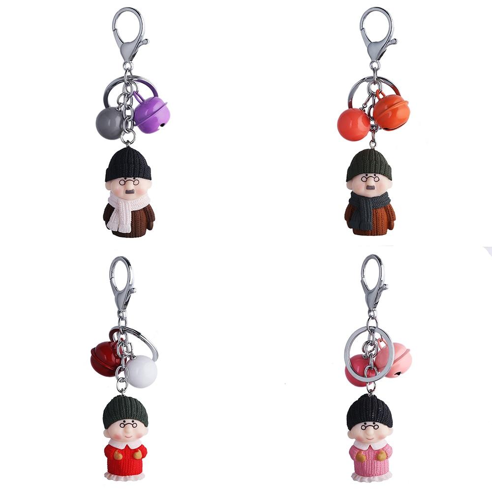 Cute Cartoon Q Version Old Man Bell Hand Strap Wrist Strap Keychain Pendant Couple Car Bag Pendant Key Chain