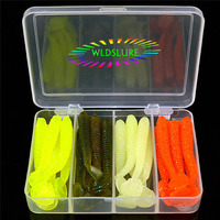 WLDSLURE 24pcs Set 75mm Classic Flexible Soft Fishing Lures Kit With Free Tackle Box Swimbaits Artificial