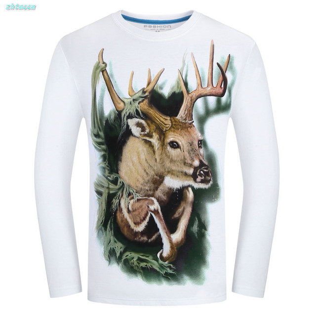 Kid Boy Tshirt Long Sleeve T Shirt Men Cotton Slim Fit Causal 3D Printed Deer Unisex Plus Size O-neck Tops Tees for 12-20 Years