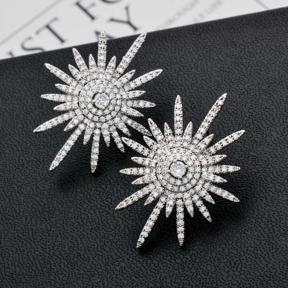 Exaggerated and miniature inlaid solar flower zircon earrings for women/girls in various occasions ER-246