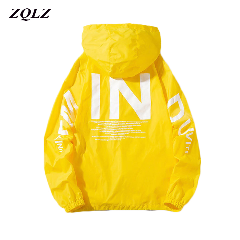Zqlz 2019 Women Windbreaker Jacket Women Fashion Print Letter Hooded Jacket Basic Jackets Plus Size 5xl Coats Female