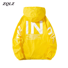 Zqlz 2019 Women Windbreaker Jacket Women Fashion Print Letter Hooded Ja