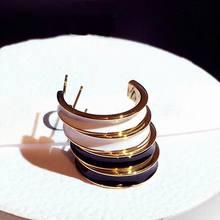 Fine White Black Small C Shaped Earrings For Women Fashion Jewelry 2019 Delicate oorbellen Temperament Gifts