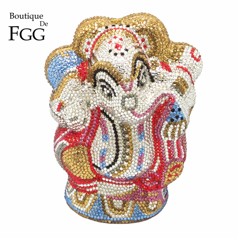 Mluti Crystal Thai Buddhist Elephant Women Evening Clutch Bag Wedding Party Minaudiere Handbag Purse Hardware Metal Clutches Bag newest fashion women evening bag luxury 3 colours radient rhinestone clutch purse crystal handbag party and wedding wallet