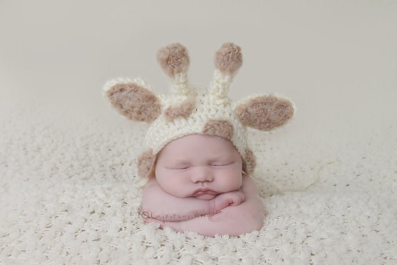 Giraffe hat newborn baby hat knit newborn hat crochet baby hat newborn photo prop in hats caps from mother kids on aliexpress com alibaba group