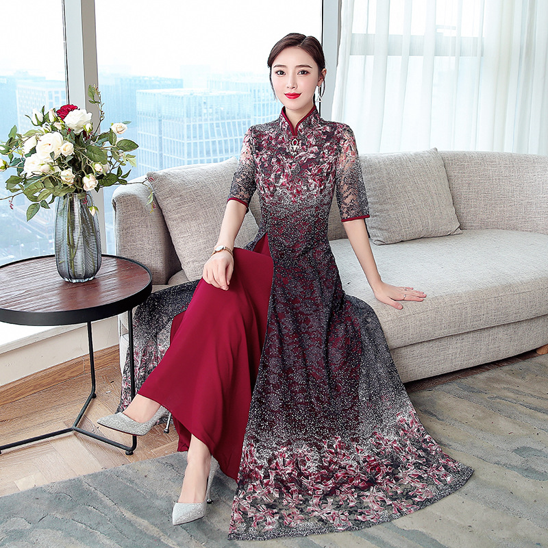 2019 printemps nouveau rétro en mousseline de soie dentelle robe femmes amélioré cheongsam banquet robe grande taille M-4XL de haute qualité élégant vestidos - 5
