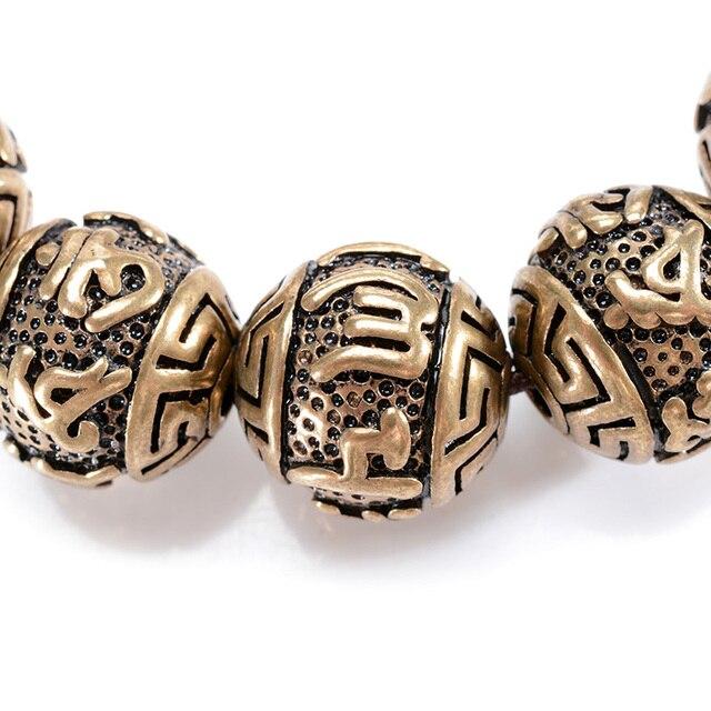 металлический браслет с бусинами мужской медный гравировкой фотография