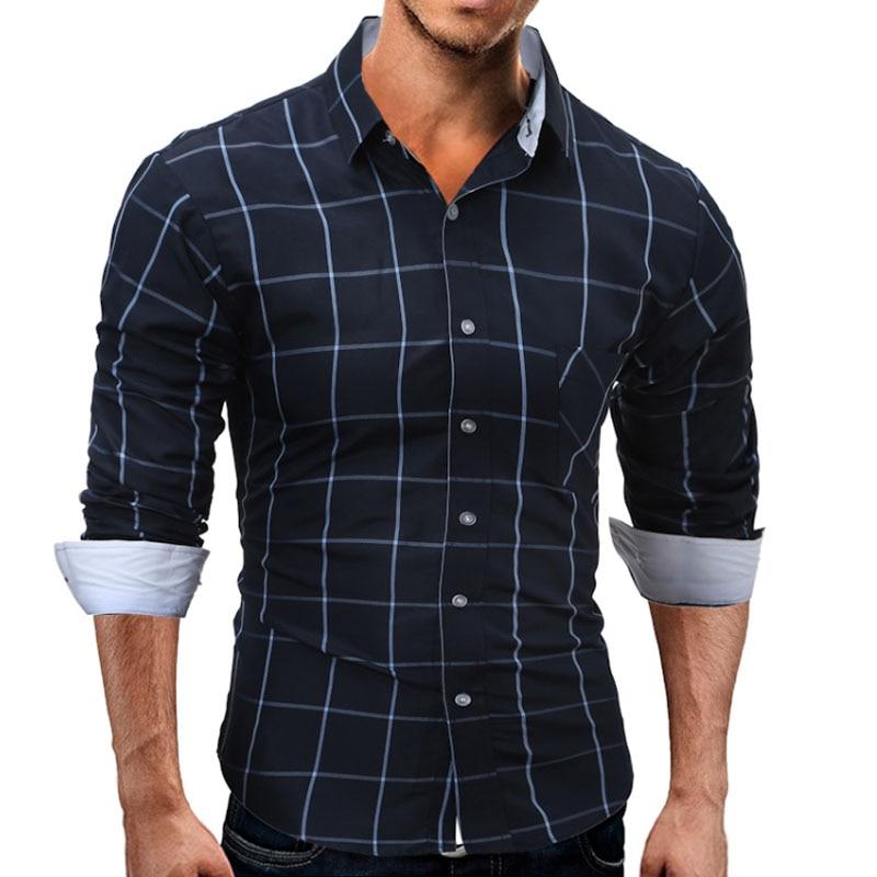 YUQIDONG prekės ženklas 2018 mados vyriški marškiniai ilgomis - Vyriški drabužiai