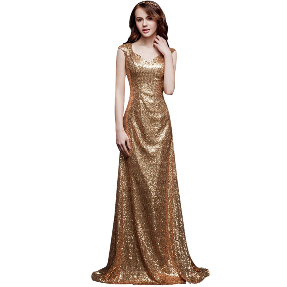 aliexpresscom buy gorgeous gold color mermaid v neck short sleeve sequin court train women fashion dresses traditional formal evening dress from reliable - Gold Color Dress