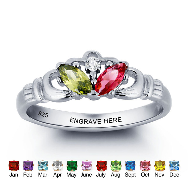 Personalized Names Ring Multicolor 925 Sterling Silver Infinity Claddagh Ring Best Valentine's Day Gift (Silveren SI1780)