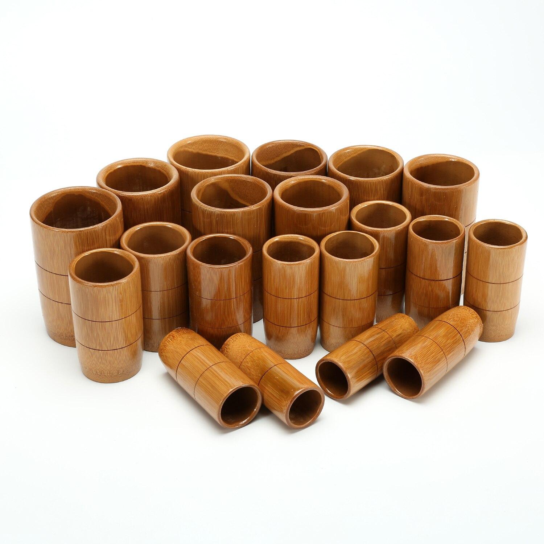 20 pièces ensemble de ventouses de massage acupuncture bambou bouilli non-verre carbonisé bambou ventouses sous vide