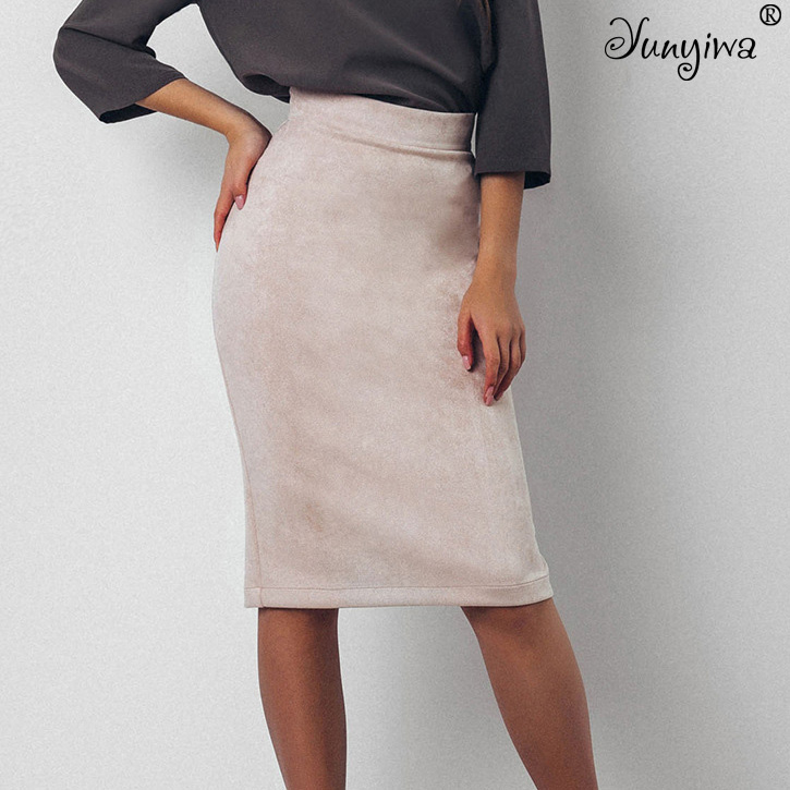 Women Skirts Suede Split Thick Stretchy Skirt Female Autumn Winter Bodycon Sexy Pencil Skirts Plus Size short dresses office wear
