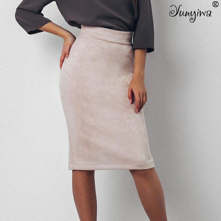 Mujer Faldas Suede grueso partido elástico falda femenina Otoño Invierno Bodycon Sexy lápiz faldas más tamaño