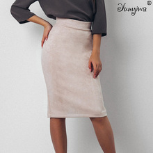 Women Skirts Suede Split Thick Stretchy Skirt Female Autumn Winter Bodycon Sexy Pencil Skirts Plus Size cheap Natural Polyester Cashmere Cotton Knee-Length Appliques N XINZHE Solid Casual
