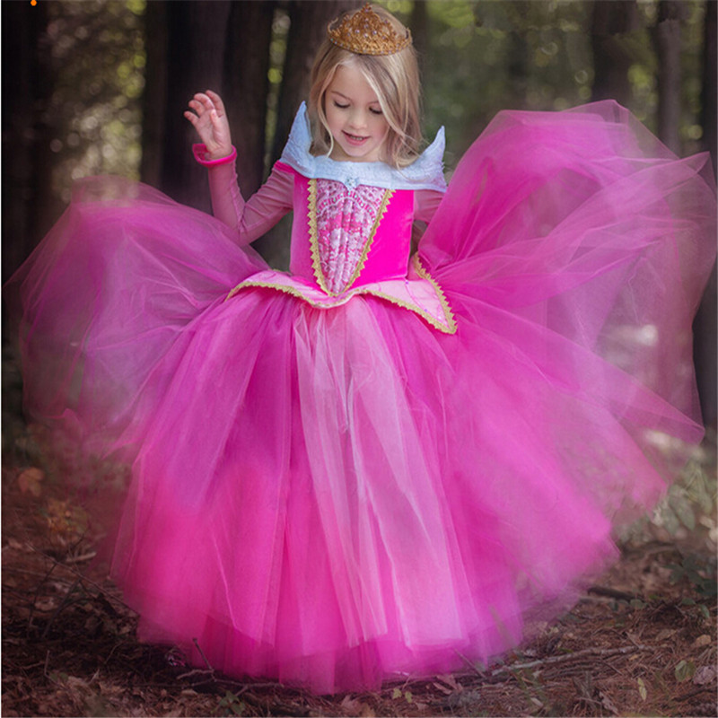 Hot Selling Retail Princess Dress Children Clothes Summer Dress Elsa Dress Costume Party Princess Princess Aurora Pink Clothing платье baon baon ba007ewwaq00