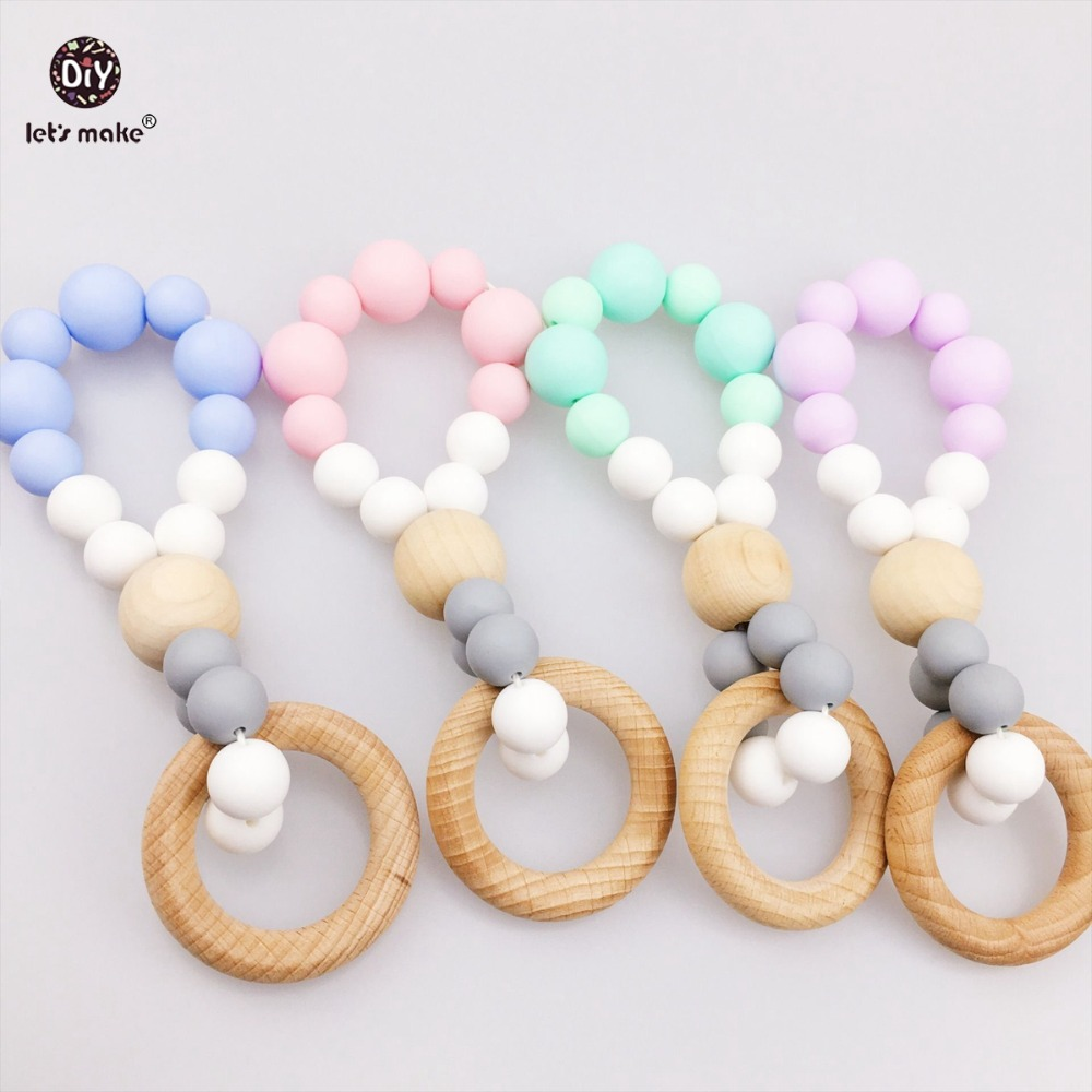 Lets make Baby Play Gym (4pcs) Silicone Teether Crib Toys BPA Free Ecofriendly Stroller Sensory Baby Gym Toy Wooden Ring