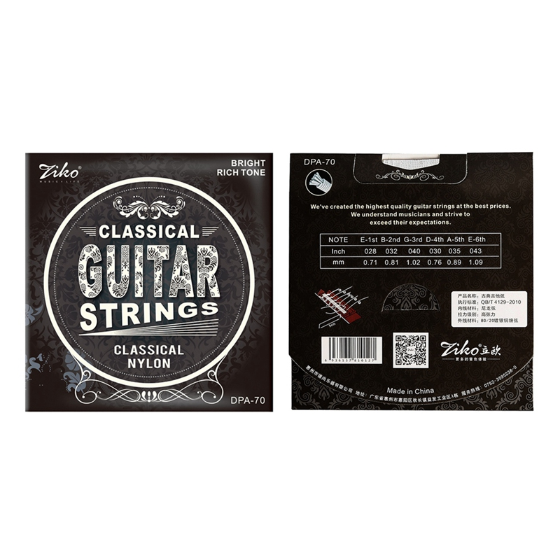 Ziko Dpa-70 Classical Guitar Strings Nylon Core Silver Plated Copper Wound High Tension 4