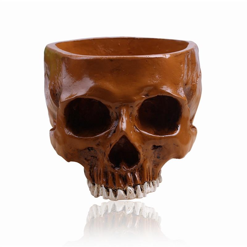 P-Flame Brown Color Commercial Flower Pots Skull Model Fruit Plate Container Storage Tank Macetas Human Skull Garden Pots