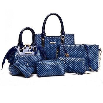 Nowy amerykański kobiet torebki znane marki torba Composite stałe kobiety Messenger torby torba na ramię kobiety portfel 6 sztuk/zestaw