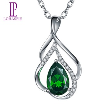LP Customized Diamond-Jewelry Solid 9K 10K 14K18K White Gold 1.36Ct Natural Chrome Diopside Pendant For Women Fine Fashion Gift