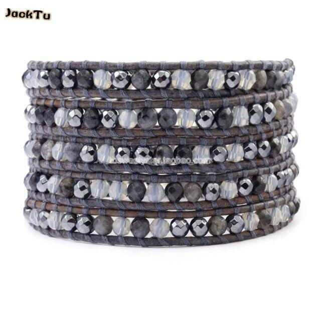 grey agate labradorite wrap bracelet