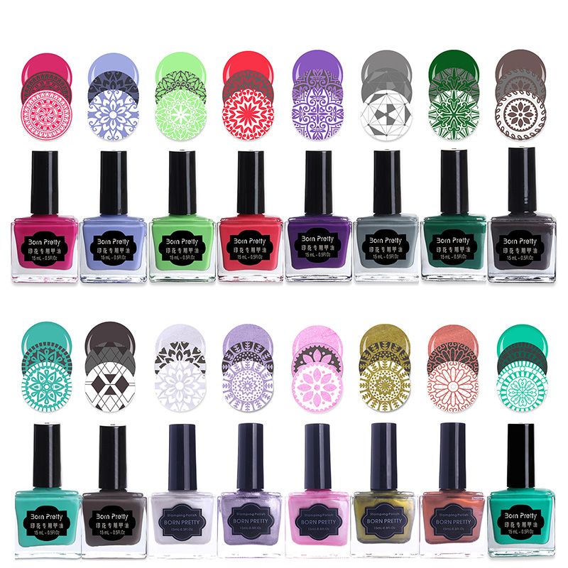 BORN PRETTY Candy Colors Nail Art Stämpling Polska Svart Sweet Style Nail Stamp Plate Polish Image Print Manicure Polish 15ml 6ml
