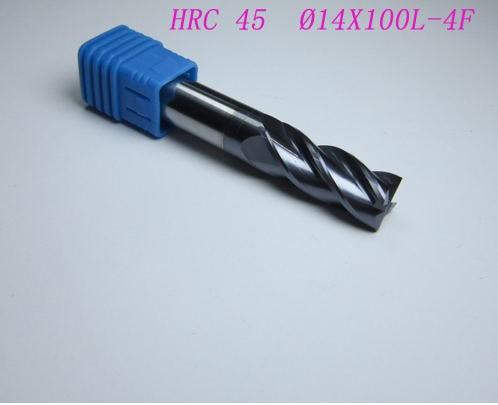 ФОТО 2PCS  HRC45 14X14 L100mm  4 flutes 14MM tungsten carbide end mill CNC machine milling cutter drill bit