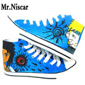 LEO Naruto Shoes Men Hand Painted Canvas Shoe High-Top Laces Male Casual Travel Shoes Breathable Flat Shoes