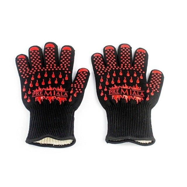 Бесплатная доставка Высокая производительность термостойкие перчатки ДЛЯ БАРБЕКЮ перчатки Защиты рук от огня тепла до 932F