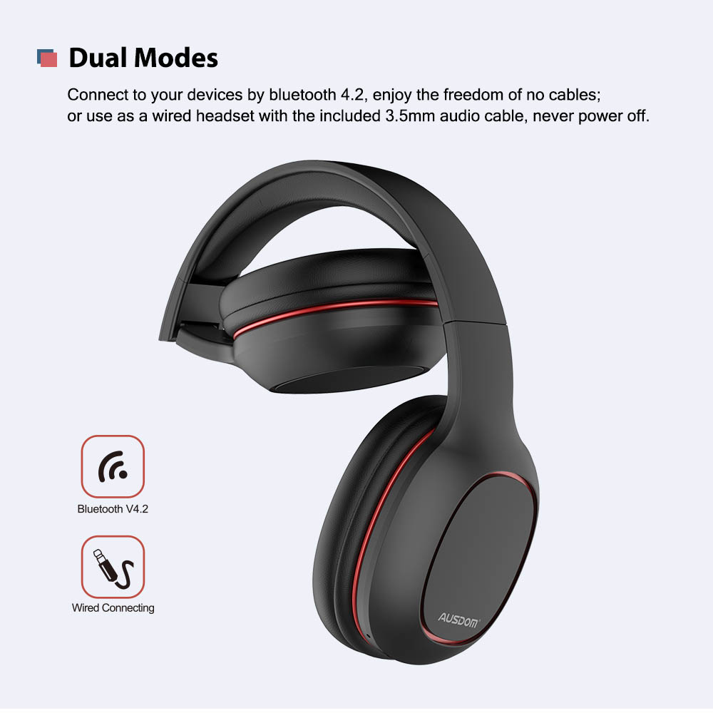 Ausdom M09 Over Ear Bluetooth Headphone Foldable With Mic And Tf Card Support Geekyviews