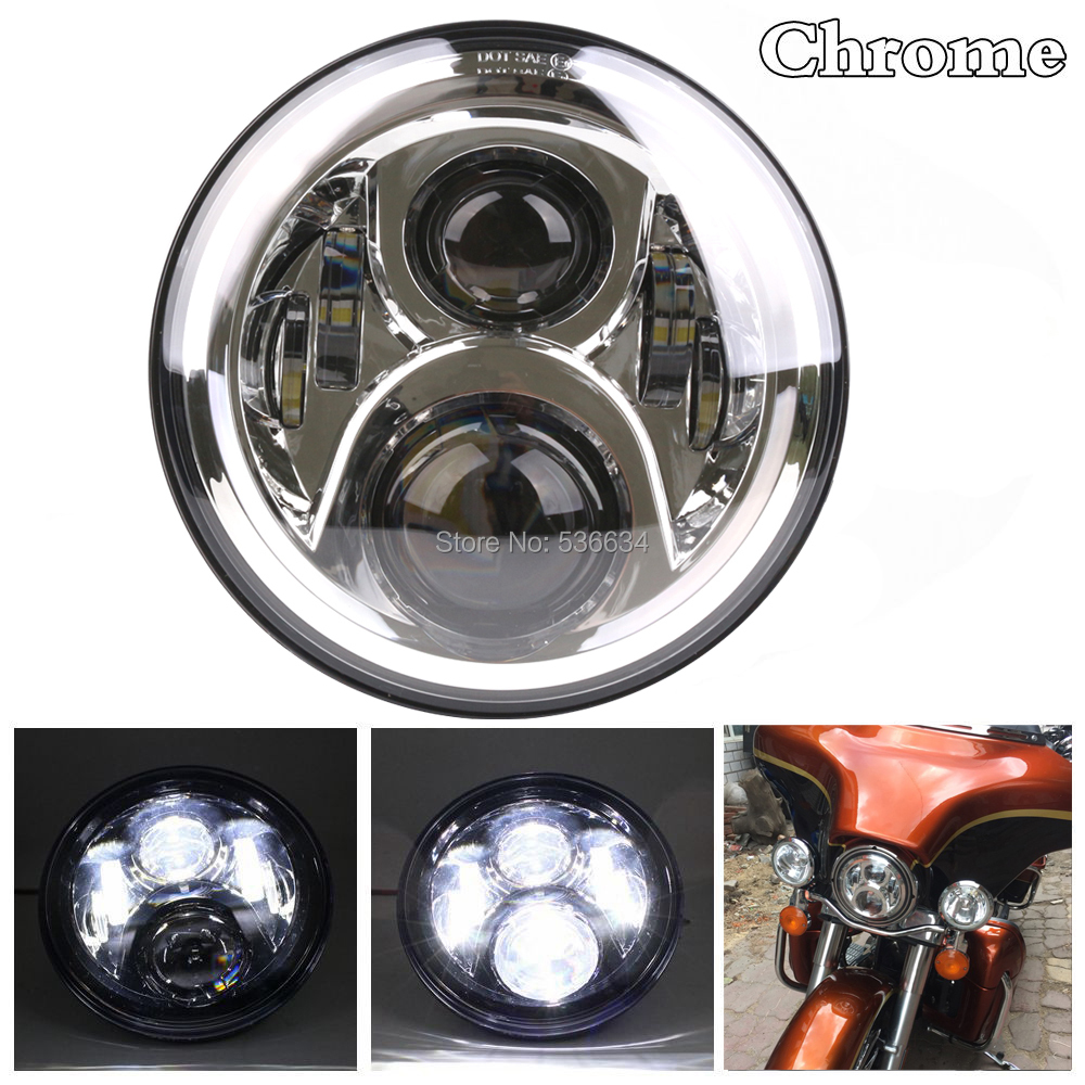 7 60 W Chrome LED Projector Daymaker Headlight Hi/Low Beam H4 For Harley Davidson Electra Glide Ultra Classic CVO for Jeep 7inch led projector daymaker headlight hi low beam led headlight mounting bracket ring for electra glide ultra classic efi