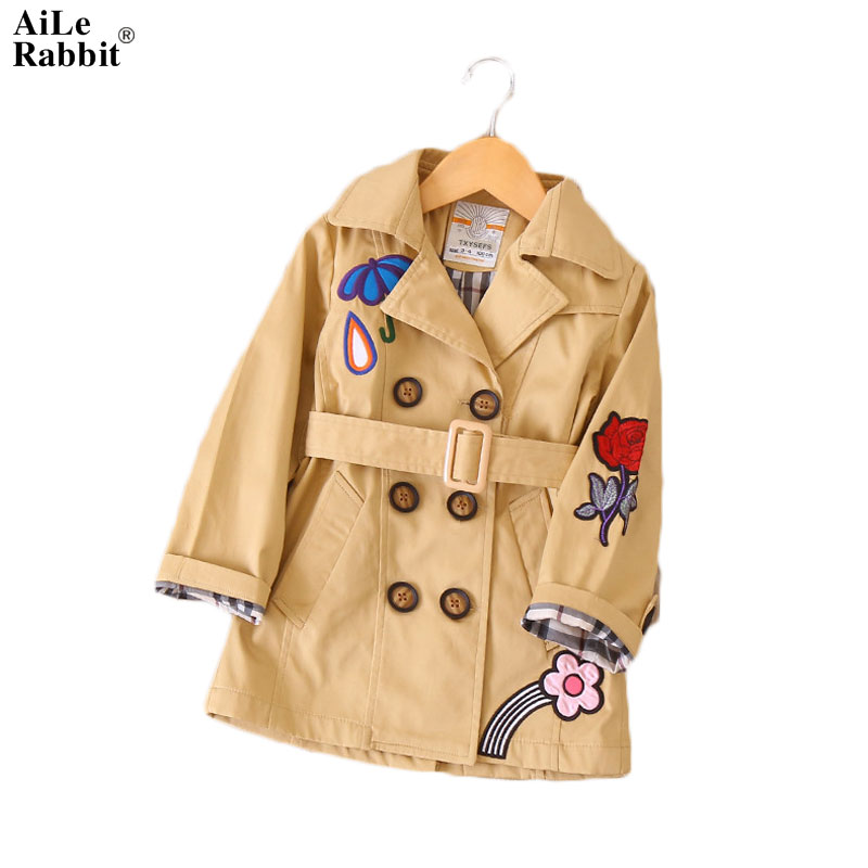 AiLe Rabbit Autumn New Embroidery Girl In The Long Section of The Windbreaker European and American Wind Girl Coat Coat k1 2018 new autumn winter large size women windbreaker coat solid color long section single breasted women windbreaker coat ly0043