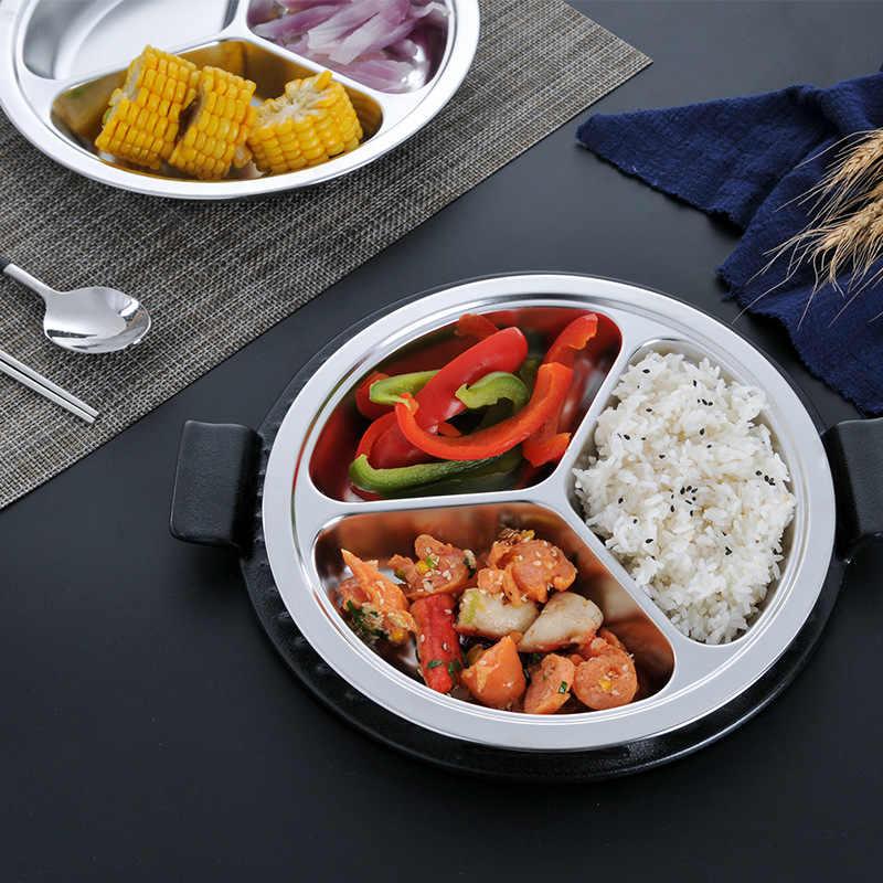 304 круглая пластина из нержавеющей стали с 3 отсеками тарелка для ресторана для ужина детский пищевой контейнер для риса обеденное блюдо
