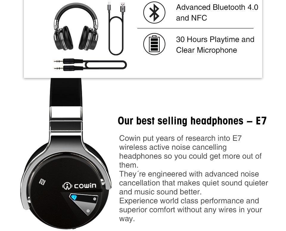 luetooth headset cowin E-7 bluetooth headphones wireless headset anc active  noise cancelling headphone earphone over ear stereo deep bass