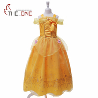 MUABABY 2017 Girls Belle Dress Kids Flower Summer Princess Costume Children Sleeveless Bow Sequined Party Prom