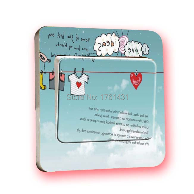 Free Shipment: 2015 Home Decoration Cute Clothes Switch Stickers PVC Waterproof Laundry Decor Wall Decoration