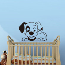 Dalmatian Dog Looking Down Wall Sticker Cute Design Dog Decals For Kids Room Decoration Home Decor
