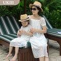 2016 семья установлены отцовства пляжный отдых платье шифоновая юбка мать и дочь платье-матч отца сыну футболка с коротким пант комплект
