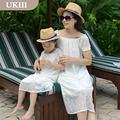 2016 Family fitted Paternity Holiday beach dress chiffon skirt mother and daughter dress match father son t-shirt short pant set
