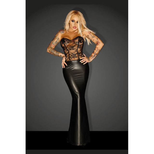 Black Faux Leather Lace Dress See Through Mesh Floral Off Shoulder Slim  Vinyl Night Club Trumpet 75e88c934