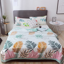 colorful leaves print soft bedspread coverlet/bed cover,also good use as summer blanket 145x195/175x195/195*225cm(China)