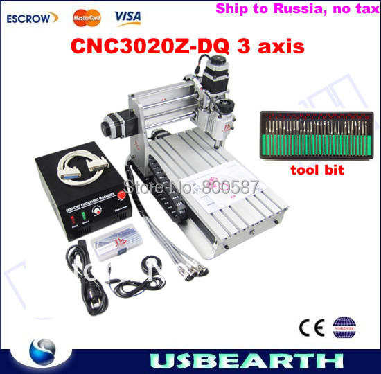 Ship to Rusiia,no tax! CNC Engraving Machine 3020 Z-DQ,CNC Router 3020Z-DQ Ball Screw type For PCB/Wood, with tool bits 30pcs cnc 3040z dq 3 aixs with ball screw engraving machine
