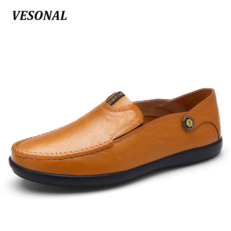 VESONAL New 2017 Brand Luxury 100% Genuine Leather Cow Flats Mens Loafers Men Shoes Casual Fashion Slip On Driving Designer V25