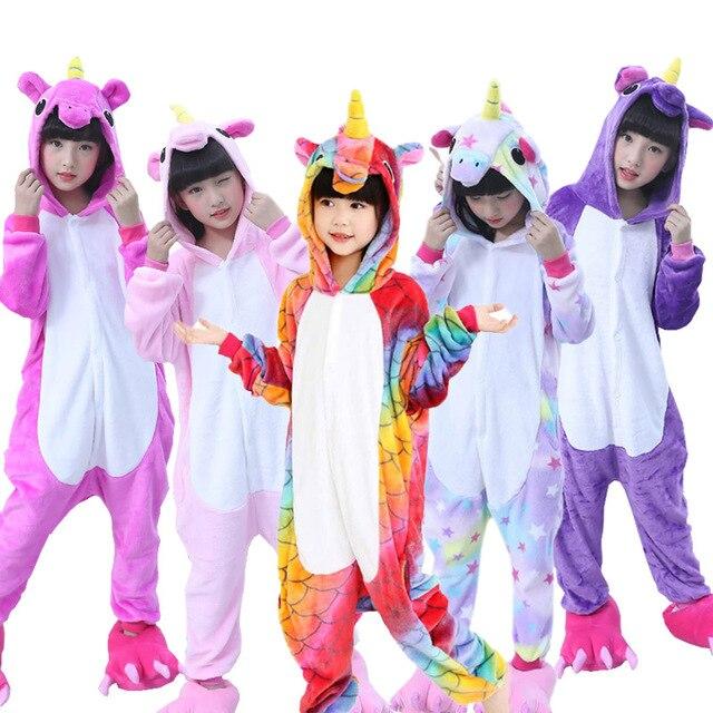 d513d73ae5 Boys Girls Pajamas Unicorn Children Pajamas set Unisex Flannel Kids pink  stars pajama Unicorn Animal Sleepwear