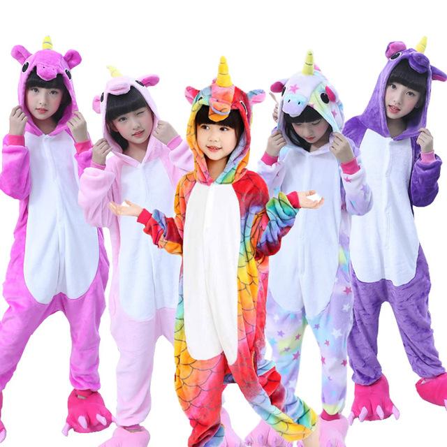 Boys Girls Pajamas Unicorn Children Pajamas set Unisex Flannel Kids pink stars pajama Unicorn Animal Sleepwear Cosplay Onesies