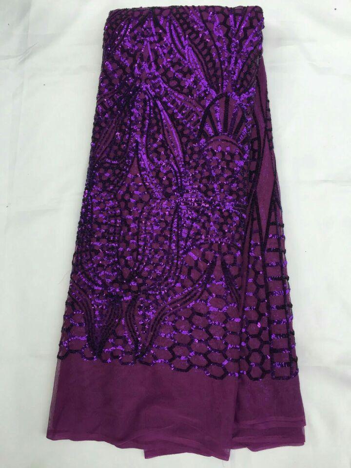 Nouvelle mode africaine maille dentelle robe de soirée avec paillettes modèle français net dentelle tissu pour vêtements QN44, 5 yards/pc - 5