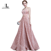 LOVONEY Long Evening Dress 2018 Sexy Open Back Formal Party Dress Women Occasion Dresses Evening Gown